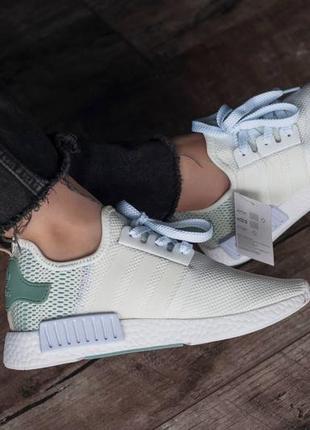 Кроссовки текстильные adidas nmd white/green6 фото