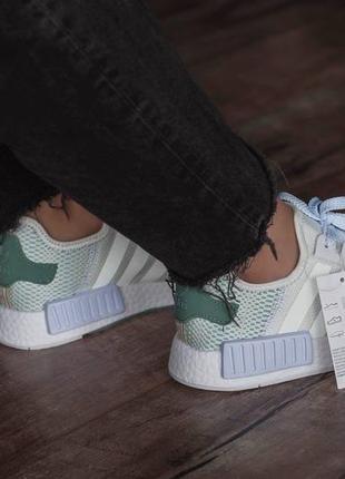 Кроссовки текстильные adidas nmd white/green7 фото