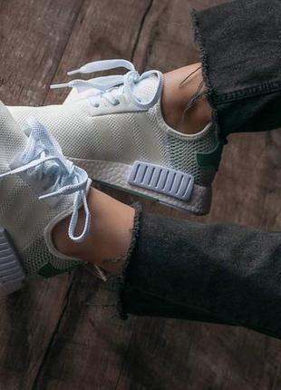 Кроссовки текстильные adidas nmd white/green3 фото
