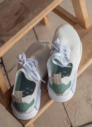 Кроссовки текстильные adidas nmd white/green4 фото