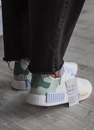 Кроссовки текстильные adidas nmd white/green5 фото