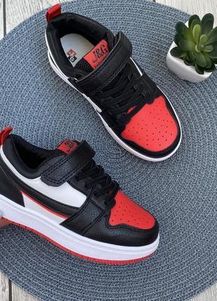 Стильные кроссовки на липучке чёрные с красными и белыми вставками 💣