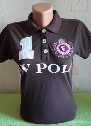 Крутая коричневая футболка поло hv polo, 💯 оригинал, молниеносная отправка