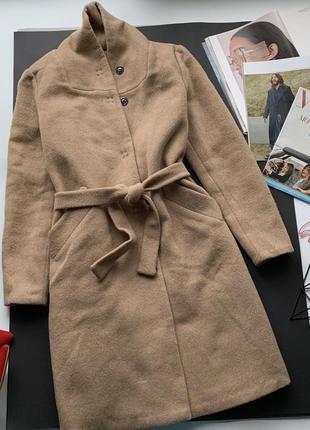 🧥элегантное бежевое пальто/пальто шерсть под пояс/нюдовое пальто кашемир весна-осень-зима🧥