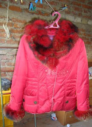 Пуховик snow beauty зимняя куртка воротник/рукава песец