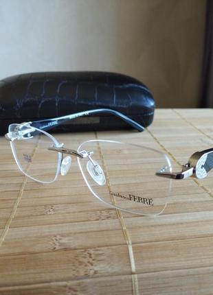 Фирменная оправа под линзы винтовая безободковая оригинал очки g.ferre gf430 01