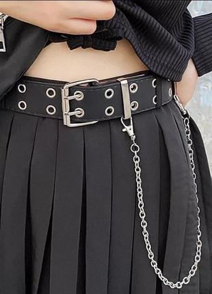 Модный женский черный ремень с цепочкой пояс с дырками 4019