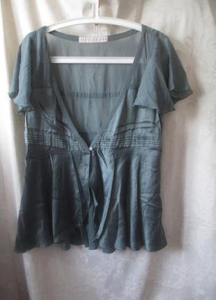 Блузка-накидка шелковая дымчато-синяя