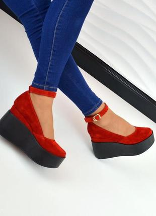 Женские туфли на танкетке красные натуральная замша rina 7