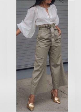 Роскошные брюки широкого кроя с поясом цвет хаки\серый