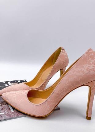 Дорогие качественные туфли лодочки розовые натуральная кожа сатин