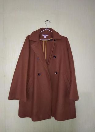 Пальто zara трапеция, горчичный цвет,кэмел s-m,шерсть