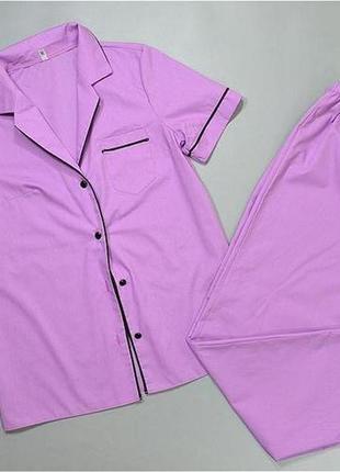 Хлопковая пижама женская рубашка и штаны