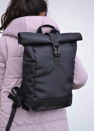Крепкий вместительный рюкзак ролтоп роллтоп дно экокожа rolltop женский мужской
