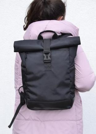 Вместительный крепкий рюкзак роллтоп ролтоп дно экокожа карман под ноутбук rolltop