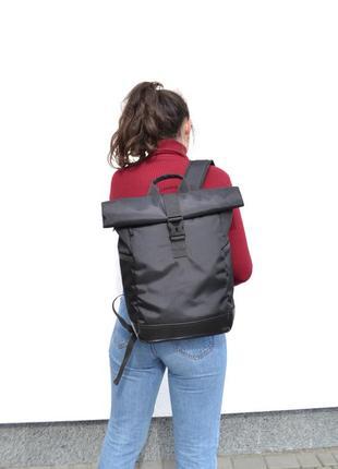Рюкзак роллтоп ролтоп rolltop (карман для ноутбука, дно с экокожи) мужской женский