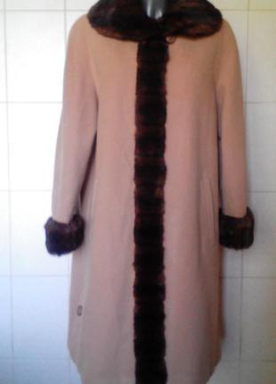Шикарное,эффектное,теплое шерстяное деми-пальто-миди authentic,с меховым воротником,xl/xx