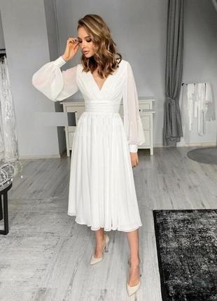 Нарядное нежное женское платье 38-70 размера белое