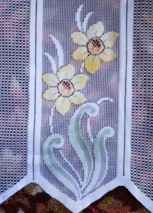 Тюлевый ламбрекен для кухни цветы