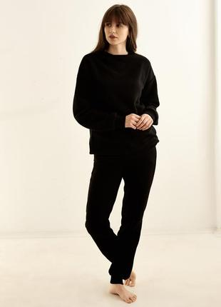 На высоких! чёрный качественный костюм на флисе, xs-xxl