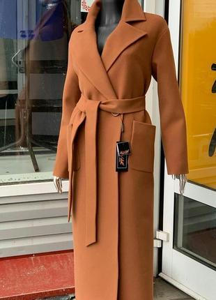 Кашемировое пальто кэмэл
