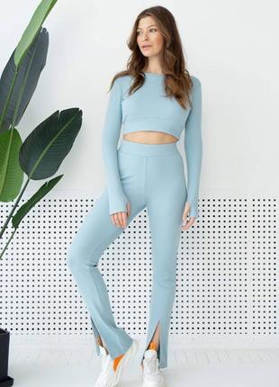 Женский трикотажный голубой костюм, брюки и топ 3128