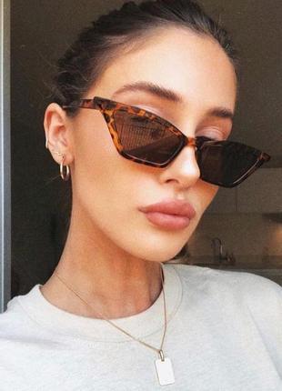 Модные солнцезащитные очки леопардовые узкие очки 7008