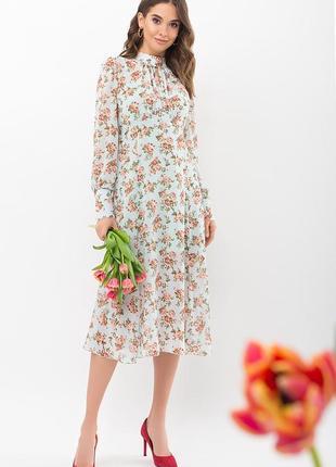 Платье женственное цветочное с розами мята-персик2 фото