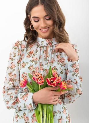 Платье женственное цветочное с розами мята-персик3 фото