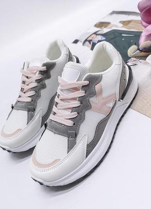 Женские  кроссовки  цвет - серый +розовый, экозамша