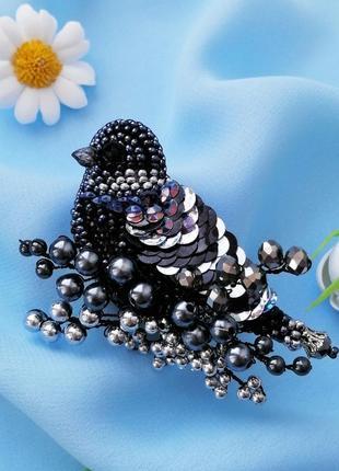 Стильная черная брошь птица подарок для женщины украшения птицы2 фото