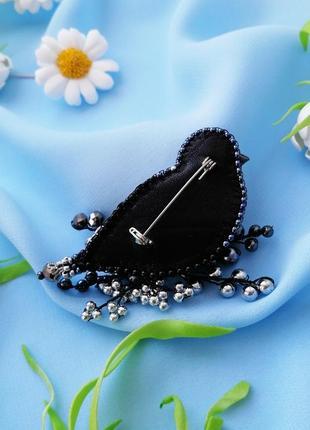 Стильная черная брошь птица подарок для женщины украшения птицы3 фото