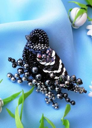 Стильная черная брошь птица подарок для женщины украшения птицы4 фото