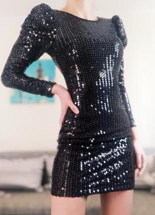 Чёрное коктельное платье в паетках,блестящее,вечернее,клубное. размер s