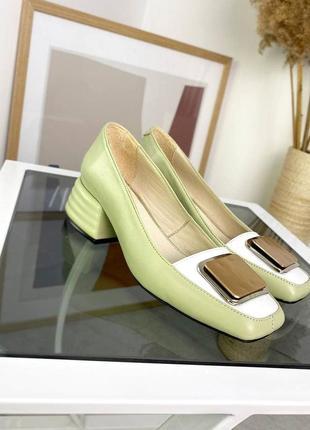 Шкіряні туфлі з квадратним носиком кожаные туфли туфельки