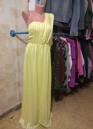 Шикарное длинное вечернее платье лимонного цвета
