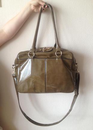 Большая сумка лаковая сумка через плечо с длинной ручкой