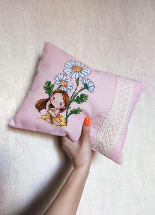 🖤 декоративная подушка с вышивкой ручной работы 🖤