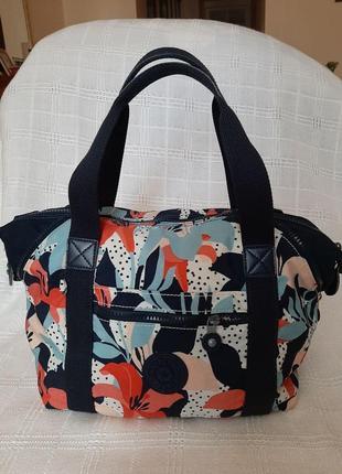 Kipling сумка нейлоновая большая разноцветная цветочный принт шоппер