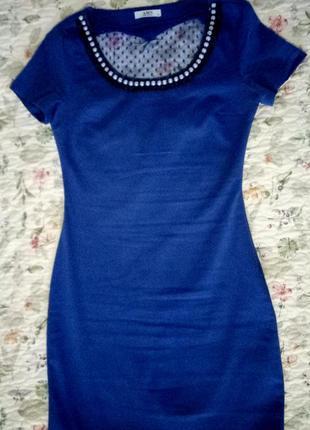 Синее платье amn с сеткой на спине