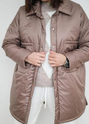 Куртка в рубашечном стиле тёмная пудра/чёрный