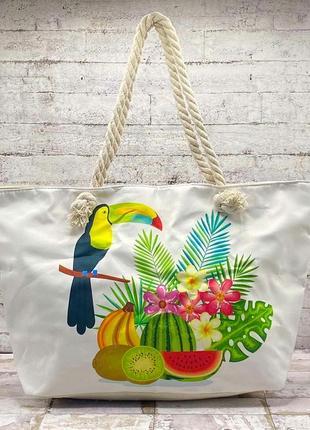 Красочная пляжная сумка райская птица с фруктами