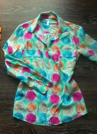 Натуральная шелковая блуза рубашка 100% шелк