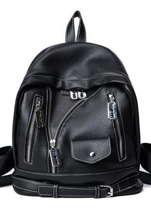 Необычный черный женский городской рюкзак косуха