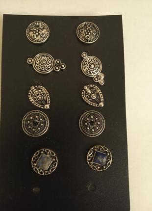 Серьги гвоздики набор, нижние с натуральным камушком, цена за набор