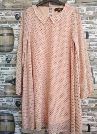Платье -трапеция в горошек с воротником urmode
