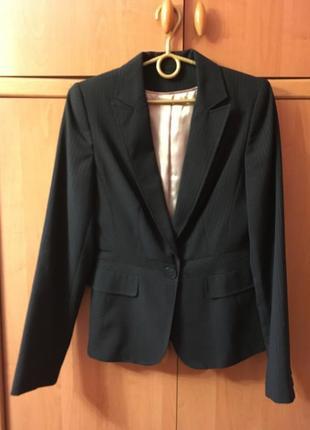 Пиджак черный в полоску удлиненный классический dorothy perkins