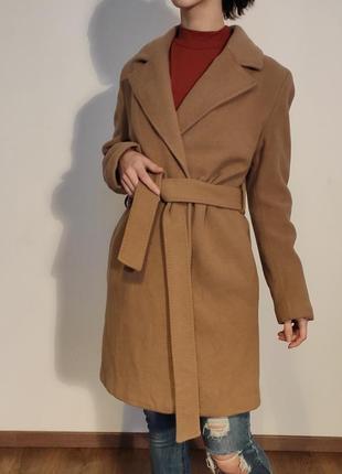Шерстяное пальто с поясом, пальто-халат, пальто на запах cool code