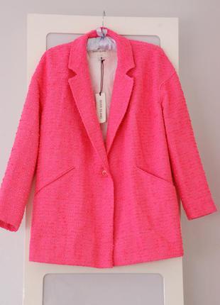 Новое укороченое пальто бойфренд, пиджак букле river island 8uk