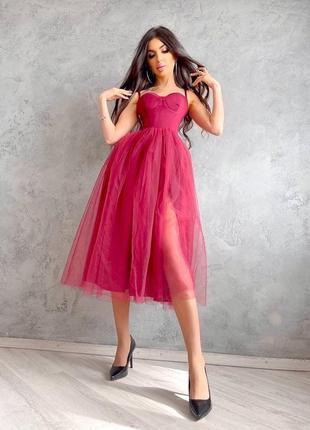 Платье-бюстье с чашечками и пышной юбкой